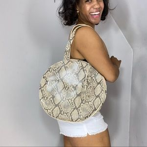 Snake print large bag oval circle satchel purse